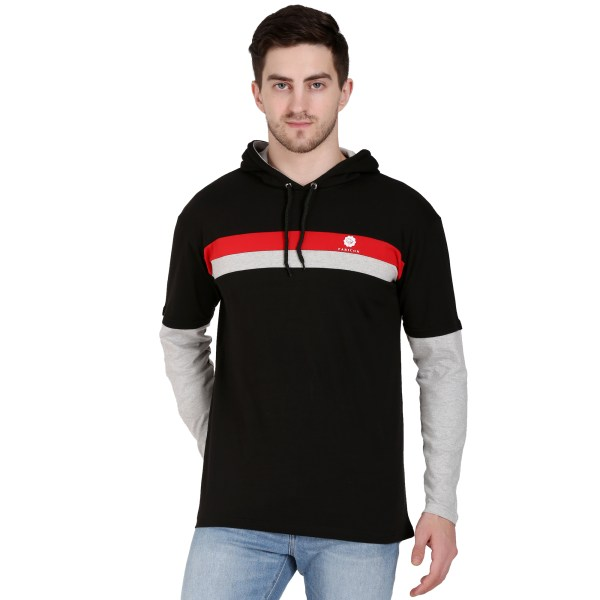 Solid Men Hooded Neck Light BLACK T-Shirt