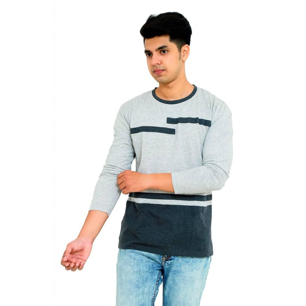 Color Block Men Round Neck Multicolor T-Shirt - Faricon
