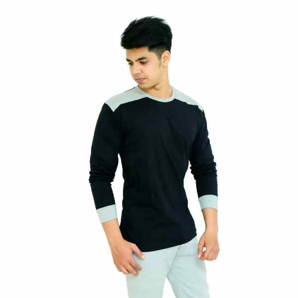 Color Block Men Round Neck Black, Grey T-Shirt - Faricon