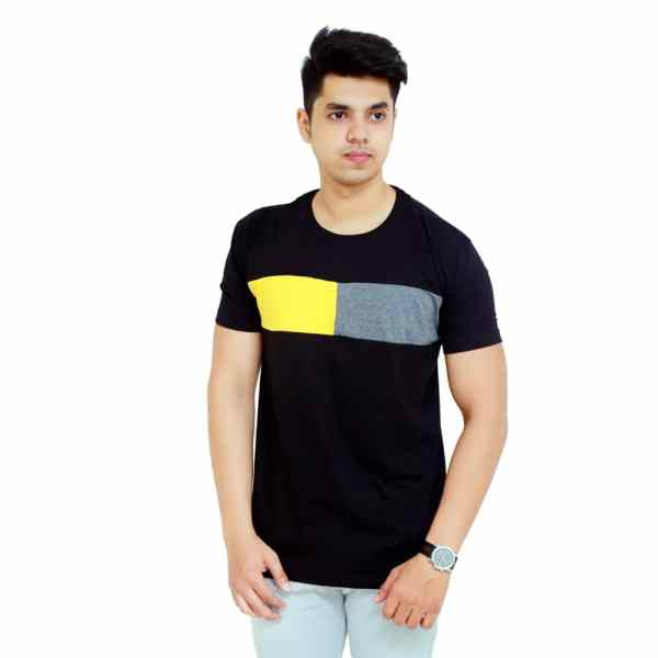 Color Block Men Round Neck Black, Grey, Yellow T-Shirt