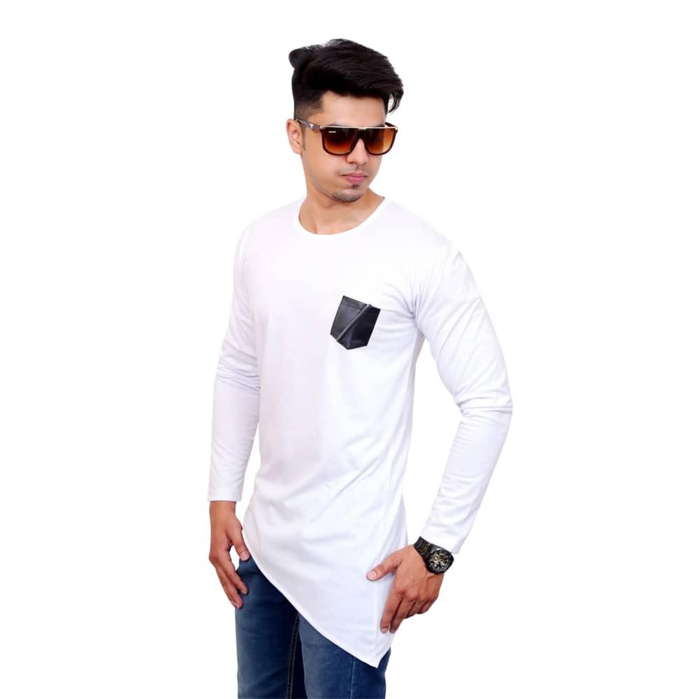 Color Block Men Round Neck White T-Shirt - Faricon