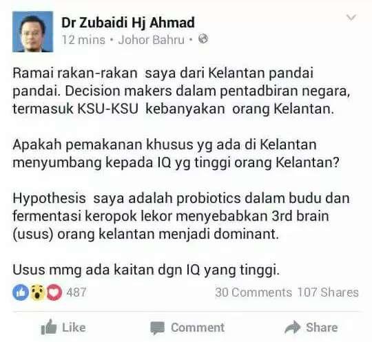 Doktor ini cakap orang Kelantan bijak sebab makan budu