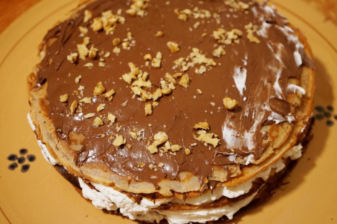 Torta crepes con farina castagne e nutella
