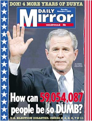 Daily Mirror on Bush Win