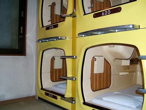 Capsules in capsule hotel
