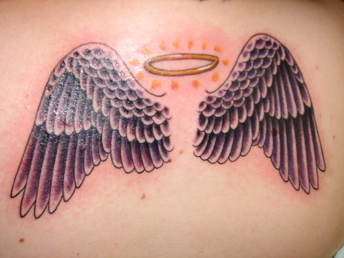 small angel wings tattoo tattoo pictures online. Black Bedroom Furniture Sets. Home Design Ideas