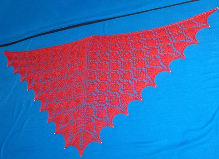 Flower Basket Shawl blocking