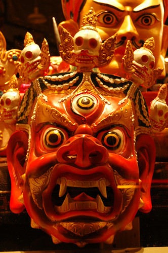 Tibetan Hayagriva mask with Padmasambhava mask...