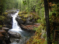 Silver falls in Mount Rainier National Park, close to Stevens Canyon Entrance