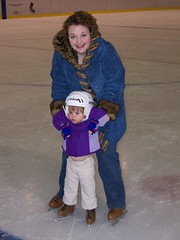 Momma and Grace try out the ice at the local ice rink