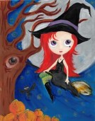 Halloween Witch Painting Blythe inspired