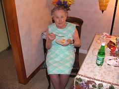 Great-grandma eating some pie