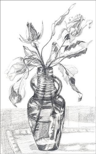 Roses in bottle - value sketch