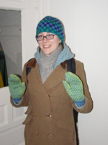 Wearing four handknits at once!