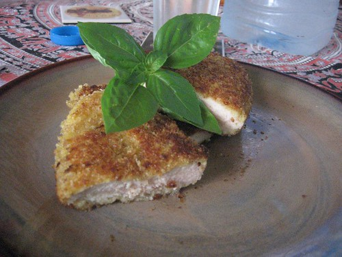 breaded chicken or milanesa de pollo with panko and dried potato flakes