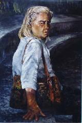 油畫  老人