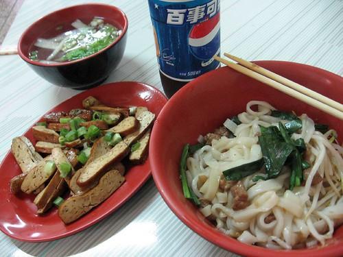 pepsi, soup, tofu, noodles