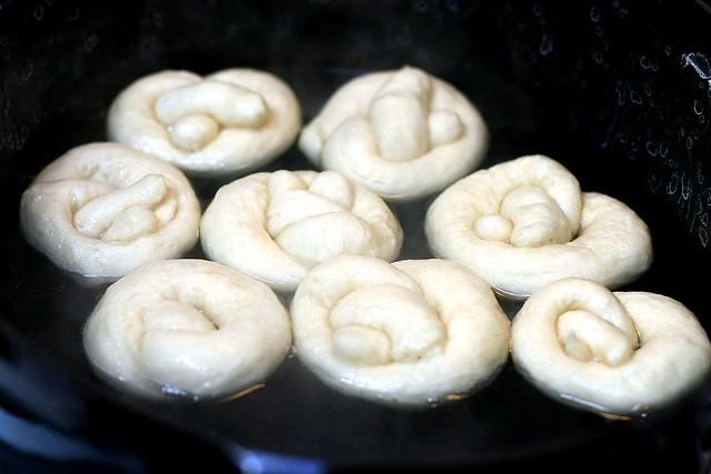 fat little pretzels, boiling