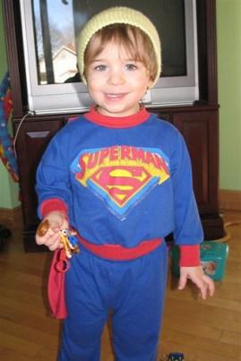 superman jr. wearing the hat Gen made