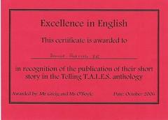 Daniel wins writing award