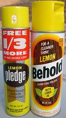Lemon Pledge & Behold Furniture Polish, 1970's