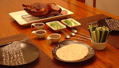 Table set for Peking Duck