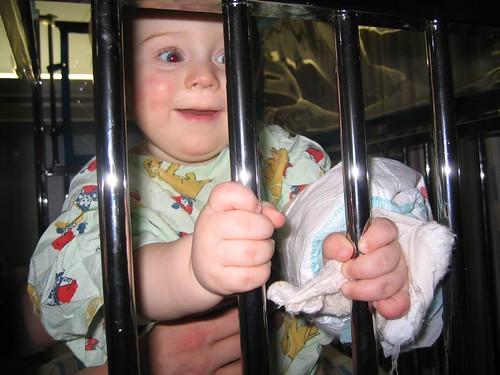 In the hospital crib