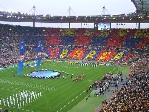 champions league final -  the teams coming out