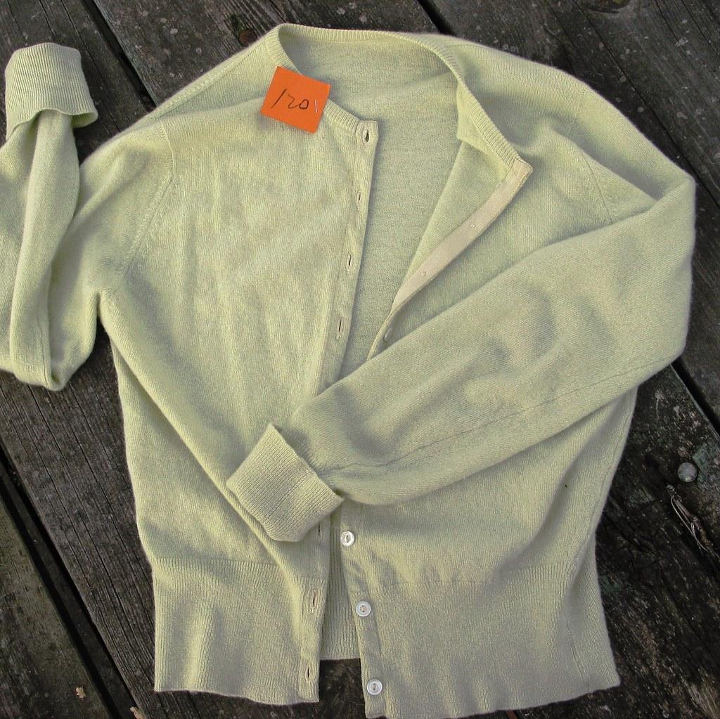 Sage green cashmere cardigan
