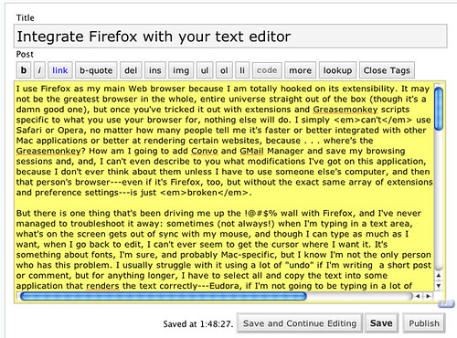 It's All Text! Firefox extension: refreshed text