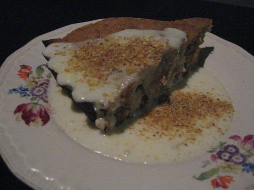 carrot cake with cream cheese frosting and lemon powder