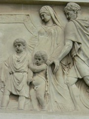 Roman family depicted on a frieze at the Legio...