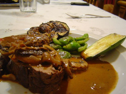 stuffed sirloin with mushrooms and cream
