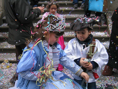 Playing in the confetti snow