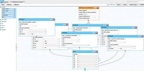 Yahoo! Pipes visual interface