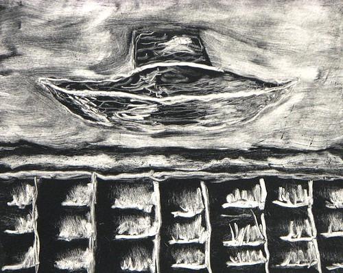 Ufo wall, monoprint