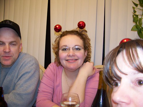 Karyl modeling the New Year's balls