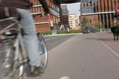 Bicycling on a city sidewalk