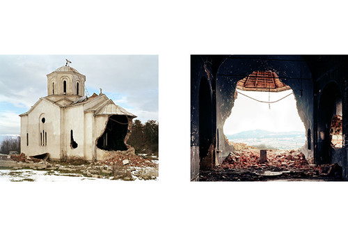 Kosovo.Kosova installation showing destruction of Serb Orthodox church Kosovo November 2004 edition of three by lacajablanca.