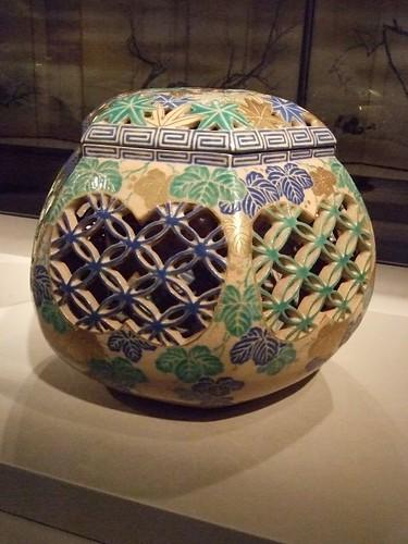 Hand warmer 1800-1868 Kyoto Japan Kiyomizu ware stoneware with polychrome enamel