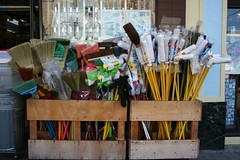 Brooms and mops, househoold goods store, Cleme...
