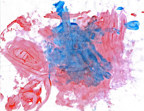 Abstract in red, blue and purple