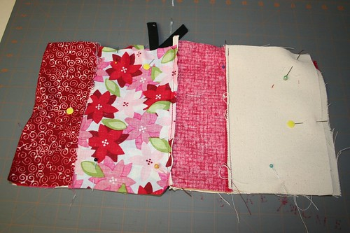 pin front and back together, and lining together
