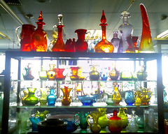 Glassware at an antique shop