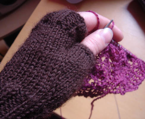 Brown wrist warmers and the Beginning
