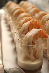Shrimp cocktail with orange-miso and cocktail sauces