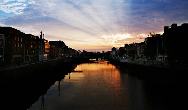 Sunset over the River Liffey