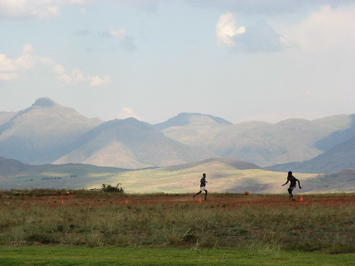 Playing footie in Lesotho