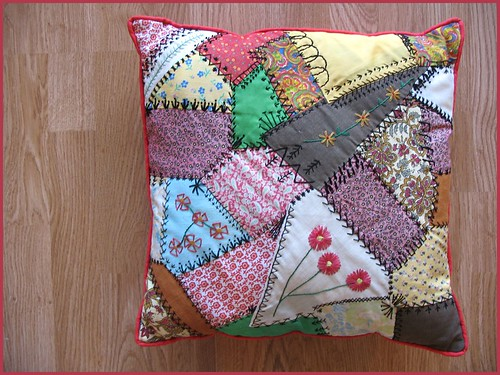 crazy patch pillow