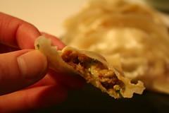 Inside a chipotle pork gyoza